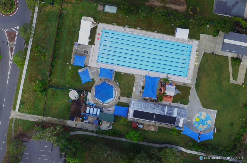 Bellbowrie Pool aerial panorama