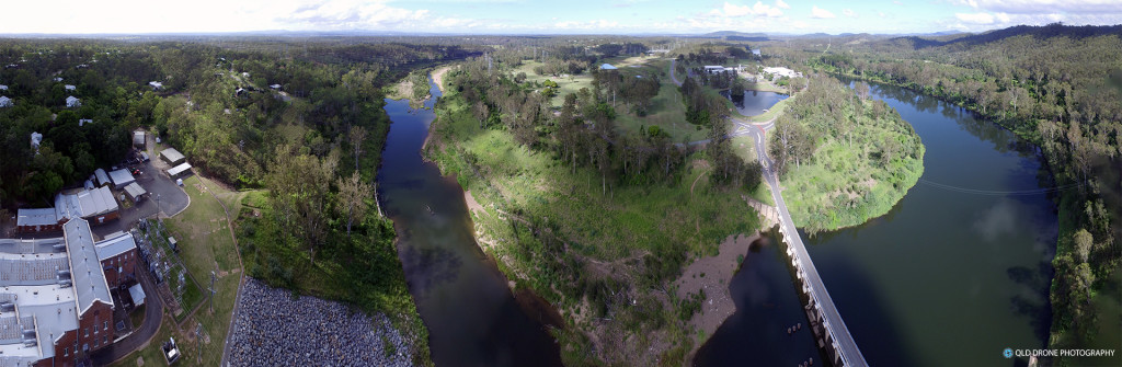 Mount Crosby Weir aerial panorama