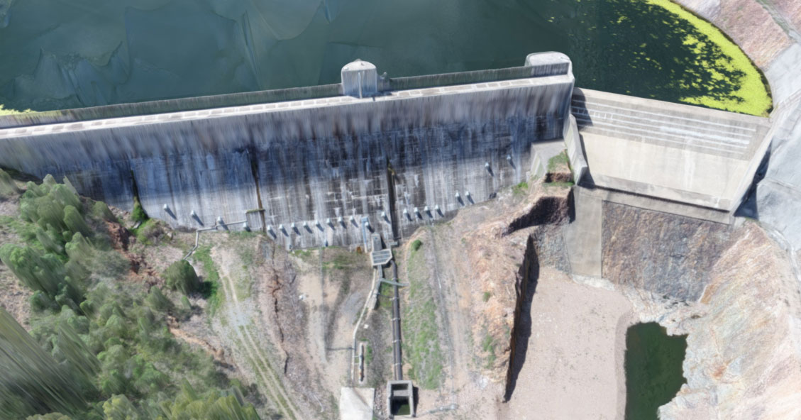 aerial 3D model of Lake Manchester weir by Queensland Drone Photography